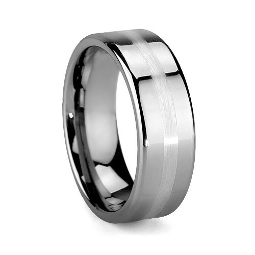 Platinum 950 Designer Men's Tungsten Band